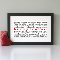 Personalised Mummy loves... art print