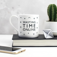 Wasting Time Online Bone China Mug