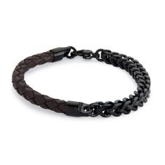 Brown leather and black steel bracelet