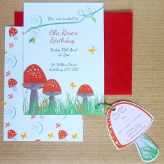 Toadstool party invitation with RSVP tag (set of 10)