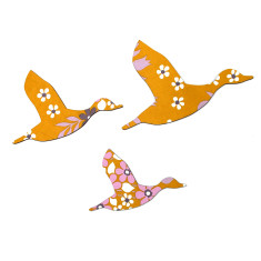 Trio of flying ducks in rtro mustard flowers