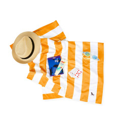 Fast Drying Beach Towel In Orange Stripes