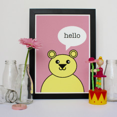 Hello Bear Nursery Print