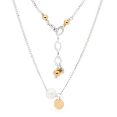 Gold fill tag pearl necklace