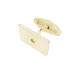 Rectangular Yellow Gold Cufflinks Citrine