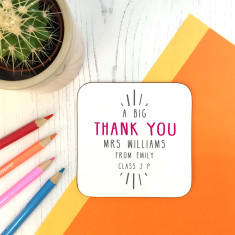 Personalised Big Thank You Teacher Coaster