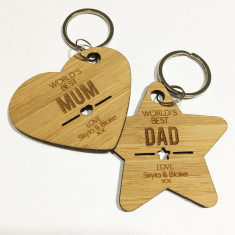 World's Best personalised heart and star key ring