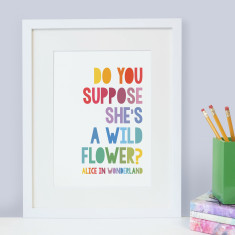 Alice in Wonderland 'Do you suppose she's a wildflower?' children's print