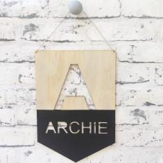 Personalised monogram name wall or door hanging pennant