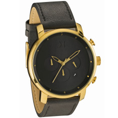 MVMT chrono watch in black/gold with black leather band