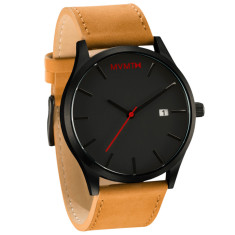 MVMT classic watch in black with leather band (two strap colours)