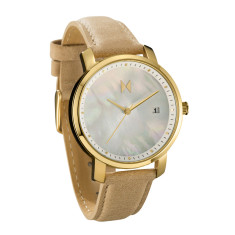 MVMT women's watch in gold with pearl face & tan leather band