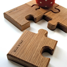 Personalised Chunky Jigsaw Coasters And Trivet