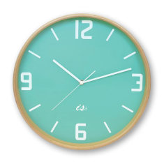 Mint lime wood wall clock