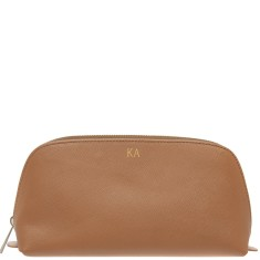 Monogrammed Saffiano Leather Cosmetic Bag with Gold Emboss