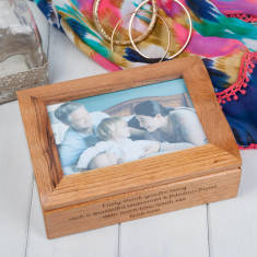 Personalised Oak Photo Jewellery Box