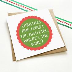 Mistletoe & wine Christmas greeting card