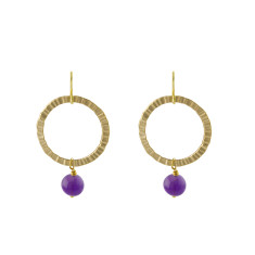 Purple saturn earrings
