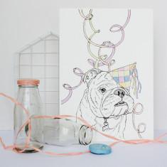 Bulldog Party Animal Print