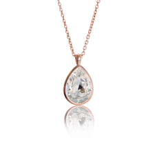 Crystal & Rose Gold Vermeil Tear Drop Pendant