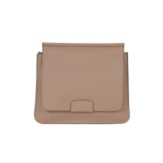Leather Shoulder Bag in Tan with Orange details