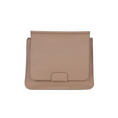 Leather Shoulder Bag in Tan with Orange details