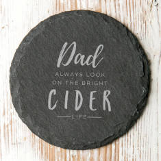 Personalised 'Bright Cider Life' Natural Slate Coaster
