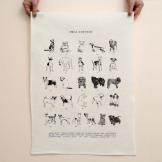 A-z of dogs tea towel