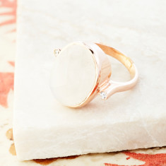 Crystal Accent Ring In Rose Gold Plate