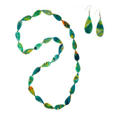 Cascade long artisan droplet necklace + droplet earrings matching set