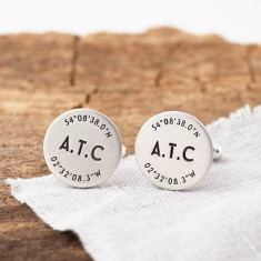 Personalised Silver Coordinate And Initials Cufflinks