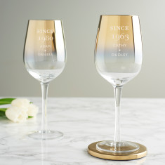 Personalised 'Since' Birthday Gold Wine Glass