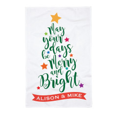 Personalised Merry and Bright Tea Towel