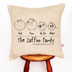Kids' drawings personalised linen cushion cover