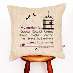 My mother is personalised linen cushion cover