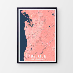 Adelaide two-tone map print (various colours)