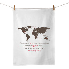 The world personalised tea towel