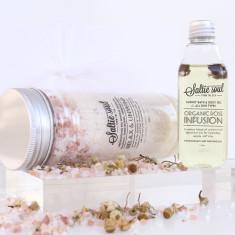 Luxury Bath & Body Gift Set - Relax & Unwind Mineral Soak with Rose Bath & Body Oil