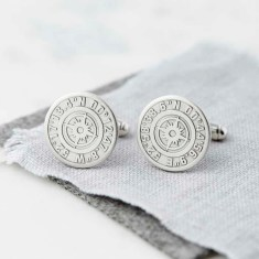 Personalised Coordinate Cufflinks With Secret Message