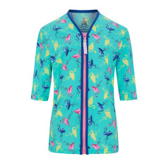 Girls' UPF 50+ flamingo zip rashie with mid length sleeves
