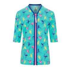Girls' UPF 50+ flamingo zip rashie with mid length sleeves