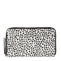 Delilah leather wallet in snow cheetah