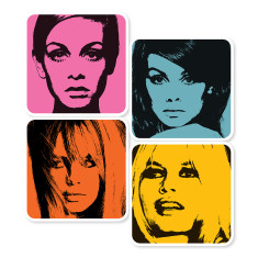 Sixties female icons coasters (set of 4)