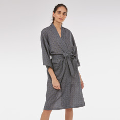 Wrap Over Kimono Robe in Grey Baroque Tile print