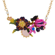 Purple flowers, buds and faceted glass necklace