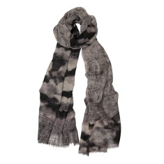 Cloud print wool/silk scarf