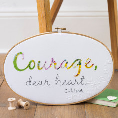 Courage dear heart oval embroidery hoop