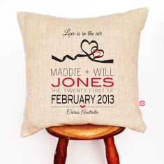 Hearts personalised linen cushion cover