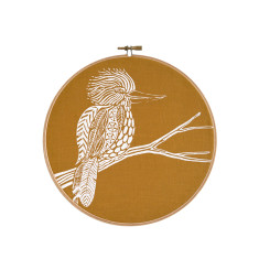 Screen printed Kookaburra framed in embroidery hoop (mustard) - small