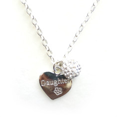 Chain necklace with daughter heart charm & diamonte ball